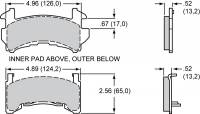 Brake Pad Sets - Circle Track - GM Metric Pads (D154) - Wilwood Engineering - Wilwood Brake Pad Plate #D154 BP-20 Compound