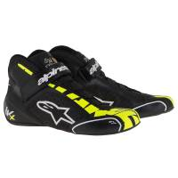 Racing Shoes - Kart Racing Shoes - Alpinestars - Alpinestars Tech 1-KX Karting Shoe - Black/White/Yellow Fluo