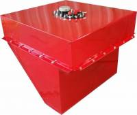 "RCI Fuel Cells - RCI Circle Track Fuel Cells - RCI - RCI Circle Track Fuel Cell and Can Wedge 30 gal 26-1/2 x 24 x 21"" Tall - 10 AN Male Outlet"