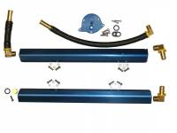 Fuel Rails and Components - Fuel Rails - BBK Performance - BBK Performance High-Flow Fuel Rail Kit 6 AN Female O-ring Inlet/Outlet Aluminum Blue Anodize - Hardware Included - 5.0 L