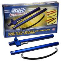 Recently Added Products - BBK Performance - BBK Performance High-Flow Fuel Rail Kit 6 AN Female O-ring Inlet/Outlet Aluminum Blue Anodize - Hardware Included