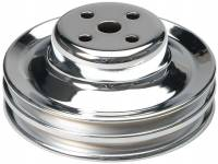 """Recently Added Products - Trans-Dapt Performance - Trans-Dapt Performance V-Belt Water Pump Pulley 2 Groove 5-7/8"""" Diameter Steel - Chrome"""