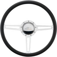 "Steering Components - NEW - Steering Wheels and Components - NEW - Billet Specialties - Billet Specialties Split Yoke Steering Wheel 15-1/2"" Diameter 3 Spoke 2"" Dish Depth - Aluminum"