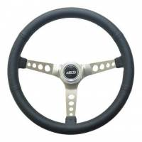 "Recently Added Products - GT Performance - GT Performance Mustang Steering Wheel 15"" Diameter 3-Spoke 4-5/8"" Dish - Black Leather Grip"