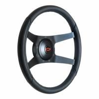 "Recently Added Products - GT Performance - GT Performance Sport Steering Wheel 14-1/2"" Diameter 4-Spoke 2-3/8"" Dish - Black Leather Grip"