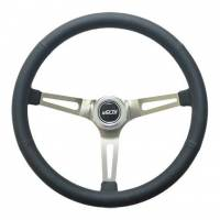 "Recently Added Products - GT Performance - GT Performance GT Retro Steering Wheel 15"" Diameter 3-Spoke 4-5/8"" Dish - Black Leather Grip"