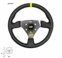 Steering Components - OMP Racing - OMP Racing Trecento Steering Wheel 300 mm Diameter 3-Spoke Leather Grip - Aluminum