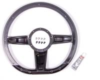"Steering Components - NEW - Steering Wheels and Components - NEW - Billet Specialties - Billet Specialties Camber Steering Wheel 14"" Diameter D-Shaped 3-Spoke - Milled Finger Notches"