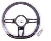 "Steering Components - NEW - Steering Wheels and Components - NEW - Billet Specialties - Billet Specialties Formula Steering Wheel 14"" Diameter D-Shaped 3-Spoke - Milled Finger Notches - Billet Aluminum - Black Anodize"