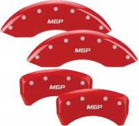 Brake System - MGP Caliper Covers - Mgp Caliper Cover MGP Logo Brake Caliper Cover Aluminum Red Ford Mustang 2005-10 - Set of 4
