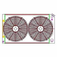 "Recently Added Products - Griffin Thermal Products - Griffin Thermal Products Direct Fit Radiator and Fan 28"" W x 19"" H x 2-11/16"" D Driver Inlet/Pass Outlet Alum - Natural"