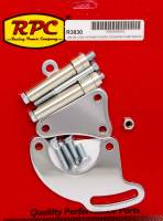 Suspension Components - Racing Power - Racing Power Driver Side Power Steering Pump Bracket Block Mount Steel Chrome - Long Water Pump
