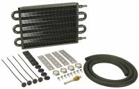 "Exhaust System - Derale Performance - Derale Performance 12-3/4 x 7-5/8 x 3/4"" Fluid Cooler Tube Type 11/32"" Male Hose Barb Aluminum/Copper - Black Paint - Automatic Transmission"