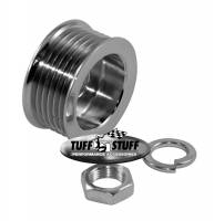 Engine Components - Pulleys & Belts - Tuff Stuff Performance - Tuff Stuff Performance 6 Rib Serpentine Alternator Pulley Hardware Included Steel Chrome - Universal