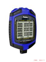 Robic - Robic Triple Timer Stopwatch Digital 180 Lap Memory Multi-Mode - Black