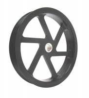 "Power Steering Pulleys - Serpentine Power Steering Pulleys - KRC Power Steering - KRC Power Steering Serpentine Power Steering Pulley 6 Rib 6"" Diameter Aluminum - Black Powder Coat"