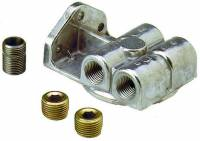 "Engine Components - Perma-Cool - Perma-Cool Single Filter Remote Oil Filter Mount 3/4-16"" Thread Four 1/2"" NPT Ports Bolt-On - Upward Facing Ports"