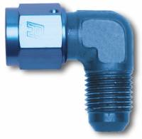 Recently Added Products - Russell Performance Products - Russell Performance Products Adapter Fitting 90 Degree 8 AN Male to 8 AN Female Aluminum - Blue Anodize