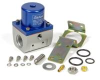 "Edelbrock - Edelbrock 35-90 psi Fuel Pressure Regulator Inline 10 AN Inlets/Outlet 6 AN Return - 1/8"" NPT Port - Blue Anodize"