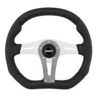 "Recently Added Products - Grant Steering Wheels - Grant Steering Wheels D-Series Steering Wheel 13-3/4 x 11-3/4"" Diameter D-Shaped 3-Spoke - Black Suede Grip - Gray Anodize"