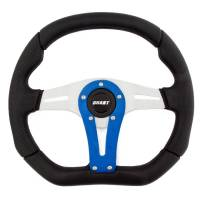 "Recently Added Products - Grant Steering Wheels - Grant Steering Wheels D-Series Steering Wheel 13-3/4 x 11-3/4"" Diameter D-Shaped 3-Spoke - Black Suede Grip - Blue Anodize"