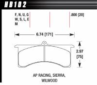 Brake Pad Sets - Circle Track - Grand National III Pads (7520) - Hawk Performance - Hawk Performance DTC-70 Brake Pads - Fits Wilwood GN, AP Six Piston