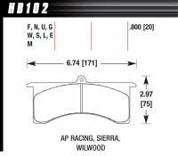 Brake Pad Sets - Circle Track - WilwoodGrand National III Pads (7520) - Hawk Performance - Hawk Performance DTC-70 Brake Pads - Fits Wilwood GN, AP Six Piston