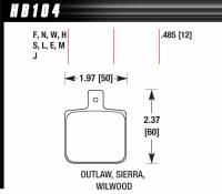 Brake Pad Sets - Circle Track - Dynalite Single Pads (6812) - Hawk Performance - Hawk Disc Brake Pads - DR-97 w/ 0.485 Thickness