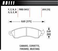 Brake Pad Sets - Street Performance - Camaro/Corvette/Firebird/Mustang D412 Pads (D412) - Hawk Performance - Hawk Disc Brake Pads - HPS Performance Street w/ 0.610 Thickness
