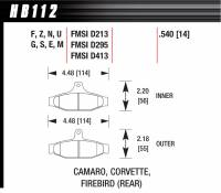 Brake Pad Sets - Street Performance - Camaro/Corvette/Firebird MItsubishi D213/D295/D413 Pads (D413) - Hawk Performance - Hawk Disc Brake Pads - HP Plus w/ 0.540 Thickness