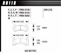 Brake Pad Sets - Circle Track - GM Metric Pads (D154) - Hawk Performance - Hawk Performance Brake Pad Set - Fits Metric GM Calipers - DTC-70 Compound
