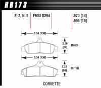 Brake Pad Sets - Street Performance - 1985-87 Corvette D294 Pads (D294) - Hawk Performance - Hawk Disc Brake Pads - HPS Performance Street w/ 0.570 Thickness