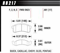 Brake Pad Sets - Street Performance - 1997-2010 Mitsubishi / 91-96 Dodge/Plymouth/Eagle D530/D723 Pads - Hawk Performance - Hawk Disc Brake Pads - HPS Performance Street w/ 0.681 Thickness