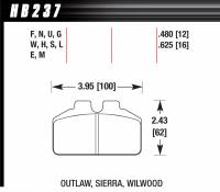Brake Pad Sets - Circle Track - Wilwood Dynalite Bridge Bolt Pads (7212) - Hawk Performance - Hawk Performance Black Compound Brake Pads Low-Intermediate Torque Low Temperature Dynalite Bridge bolt Style Caliper - Set of 4