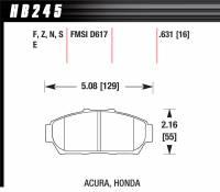 Brake Pad Sets - Street Performance - 1994-2001 Honda/Acura D617 Pads (D617) - Hawk Performance - Hawk Disc Brake Pads - HPS Performance Street w/ 0.631 Thickness