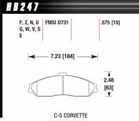 Brake Pad Sets - Street Performance - 2000-07 Corvette/XLR/GTO D731 Pads (D731) - Hawk Performance - Hawk Disc Brake Pads - HPS Performance Street w/ 0.575 Thickness