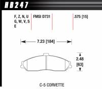 Brake Pad Sets - Street Performance - 2000-07 Corvette/XLR/GTO D731 Pads (D731) - Hawk Performance - Hawk Disc Brake Pads - HP Plus w/ 0.575 Thickness