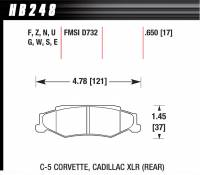 Brake Pad Sets - Street Performance - 2000-11 Corvette/XLR D732 Pads (D732) - Hawk Performance - Hawk Disc Brake Pads - HP Plus w/ 0.650 Thickness