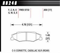 Brake Pad Sets - Street Performance - 2000-11 Corvette/XLR D732 Pads (D732) - Hawk Performance - Hawk Disc Brake Pads - Performance Ceramic w/ 0.650 Thickness