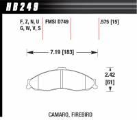 Chevrolet Camaro (4th Gen 93-02) - Chevrolet Camaro (4th Gen) Brakes - Hawk Performance - Hawk Disc Brake Pads - HPS Performance Street w/ 0.575 Thickness