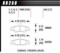 Brake Pad Sets - Street Performance - 1998-2002 Camaro SS/Firebird D750 Pads (D750) - Hawk Performance - Hawk Disc Brake Pads - HPS Performance Street w/ 0.653 Thickness