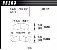 Recently Added Products - Hawk Performance - Hawk Performance HPS Compound Brake Pads High Torque Front Ford Mustang/ Thunderbird 1987-93 - Set of 4