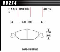 Brake Pad Sets - Street Performance - 1999-2004 Mustang D804 Pads (D804) - Hawk Performance - Hawk Disc Brake Pads - HPS Performance Street w/ 0.610 Thickness