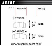Brake Pad Sets - Truck - 1991-2002 GM Truck / 1994-99 Dodge 2500-3500 Truck D459 Pads (D459) - Hawk Performance - Hawk Disc Brake Pads - SuperDuty w/ 0.787 Thickness