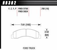 Brake Pad Sets - Truck - 1998-2005 Ford F-250/350 Truck D756/D824 Pads - Hawk Performance - Hawk Disc Brake Pads - SuperDuty w/ 0.700 Thickness