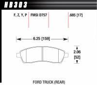 Brake Pad Sets - Truck - 1999-2005 Ford F-250/350 Truck D757 Pads (D757) - Hawk Performance - Hawk Disc Brake Pads - LTS w/ 0.685 Thickness