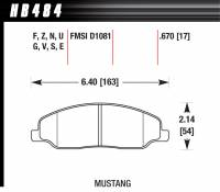 Brake Pad Sets - Street Performance - 2005-11 Mustang D1081 Pads (D1081) - Hawk Performance - Hawk Disc Brake Pads - HPS Performance Street w/ 0.670 Thickness