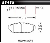Brake Pad Sets - Street Performance - 2005-11 Mustang D1082 Pads (D1082) - Hawk Performance - Hawk Disc Brake Pads - HP Plus w/ 0.656 Thickness