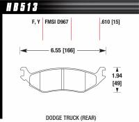 Brake Pad Sets - Truck - 2002-11 Dodge Truck D967 Pads (D967) - Hawk Performance - Hawk Disc Brake Pads - LTS w/ 0.610 Thickness