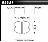 Brake Pad Sets - Street Performance - 2006-11 Corvette D1185 Pads (D1185) - Hawk Performance - Hawk Disc Brake Pads - Performance Ceramic w/ 0.570 Thickness